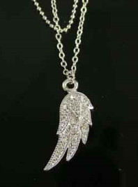 Angel Wing Anklet Double Strand Chain - Clear