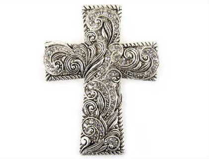 Cross Rhinestone Scroll Magnetic Pendant