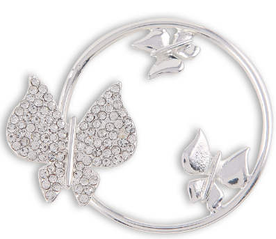 32mm Coin - Rhinestones 3D Butterfly Silver