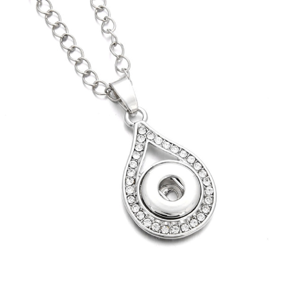 Mini Snap 12mm Necklace - Halo Rhinestone Water Drop 22""