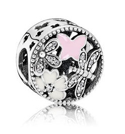Charm 925 - Silver Enamel Butterfly Blossoms