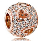 Charm 925 - Rose Gold Pave Tumbling Hearts