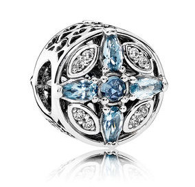 Charm 925 - Silver Patterns of Frost In Blue