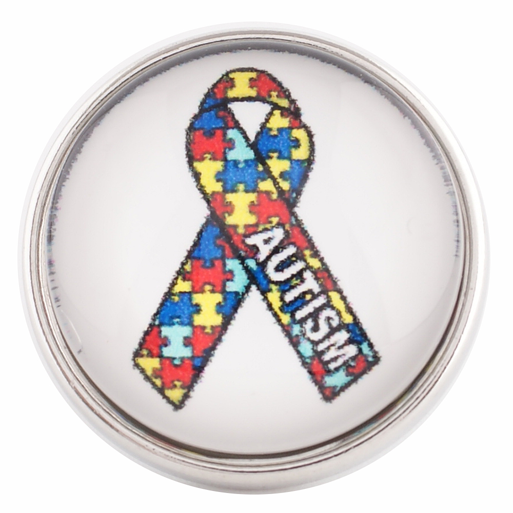 Snap glass Jewelry - Autism Awareness Puzzle Ribbon