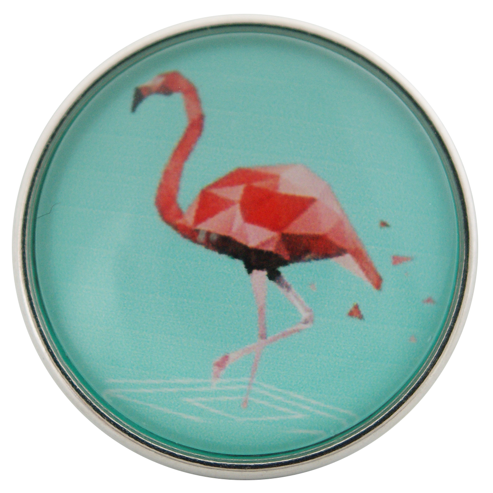 Snap Glass Jewelry - Pink Flamingo