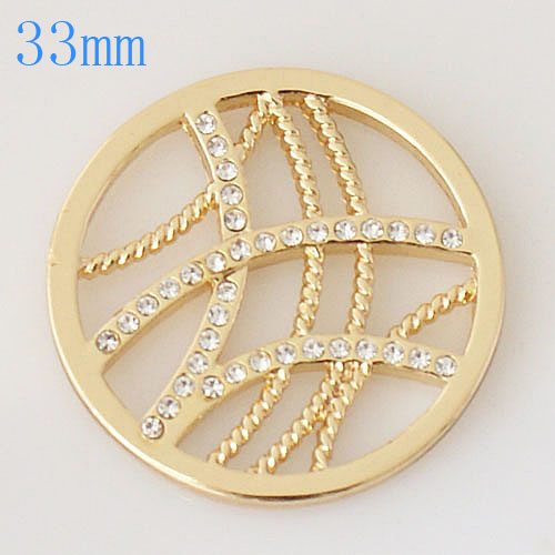 32mm Coin - Rhinestones Gold Curved Lines