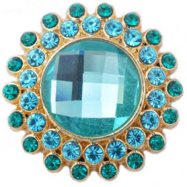 Snap Jewelry Rhinestone - Gold Faceted Crystal Teal & Blue