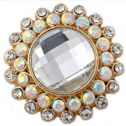 Snap Jewelry Rhinestone - Gold Faceted Crystal Clear & AB