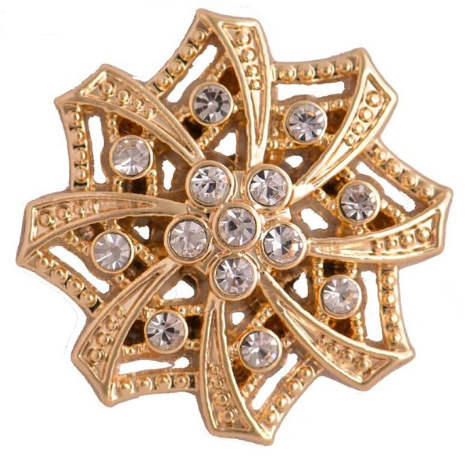Snap Jewelry Rhinestone - Gold Flower Clear