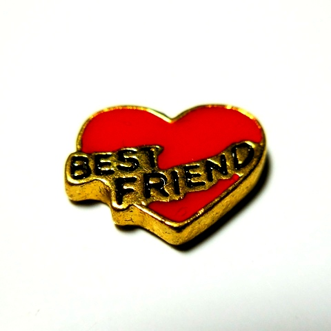Memory Locket Charms Heart Best Friend Red & Gold