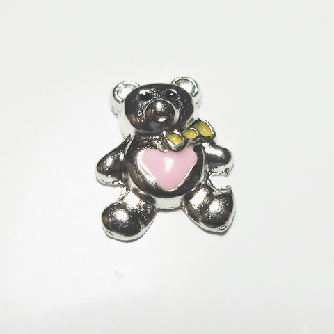 Memory Locket Charms Teddy Bear with Pink Heart