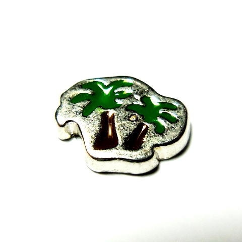 Memory Locket Charms Palm Tree - Silver Green & Brown