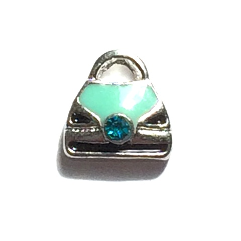 Memory Locket Charms Purse Teal with Rhinestone
