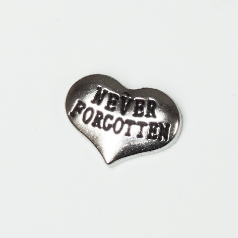 Memory Locket Charms Heart Never Forgotten Silver