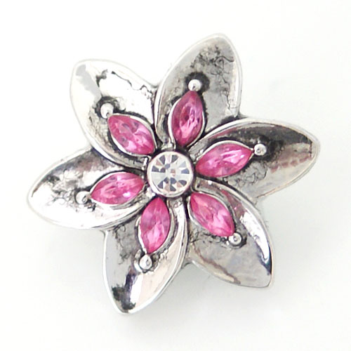 Snap Jewelry Rhinestone - Flower & Pink