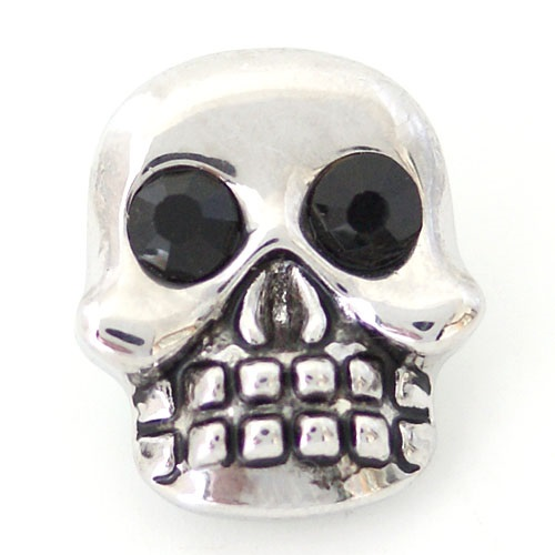Snap Jewelry Rhinestone - Skull Black