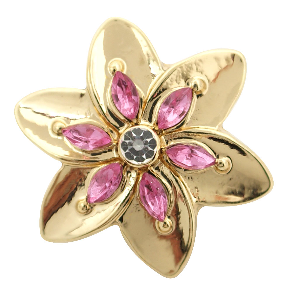 Snap Jewelry Enamel - Flower Gold, Pink & Rhinestone