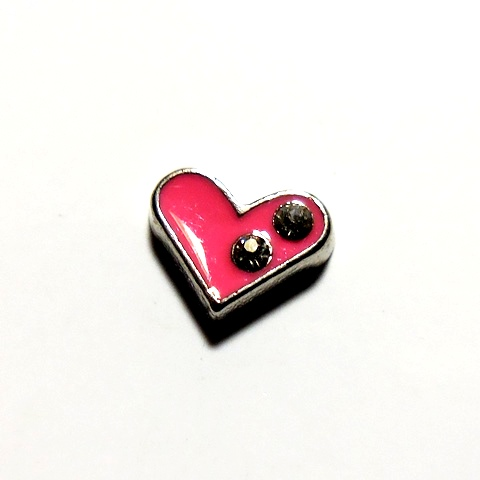 Memory Locket Charms Heart Pink with Two Rhinestones