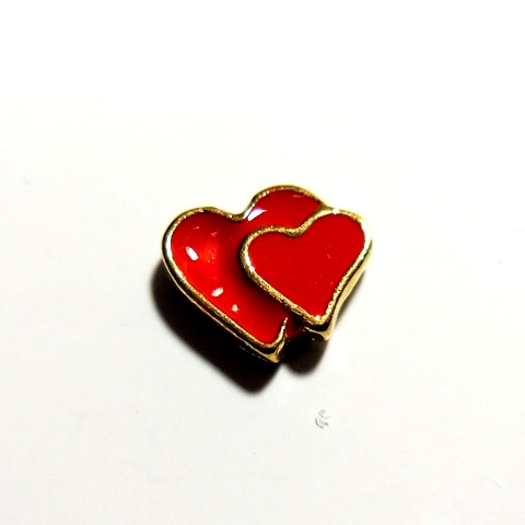 Memory Locket Charms Heart Double Red & Gold