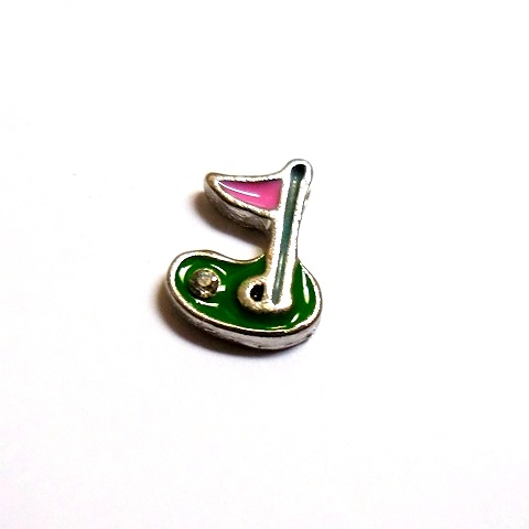 Memory Locket Charms Golf Hole in One Pink Flag