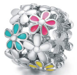 End Less Enamel Charms - Silver Flower Multicolor