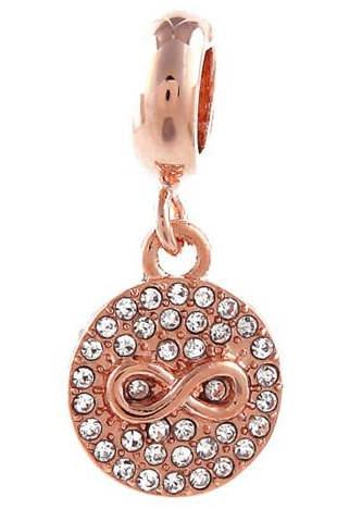 End Less Rhinestone Charms Drop - Infinity Circle Rose Gold