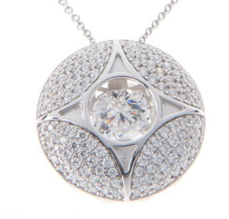 925 Dancing Swarovski Gem Necklaces - Puffed Circle Star Pendant