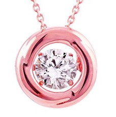 925 Dancing Swarovski Gem Necklace - Rose Gold Polish Circle