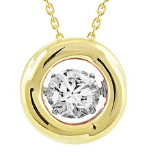 925 Dancing Swarovski Zirconia Necklace - Gold Polish Circle