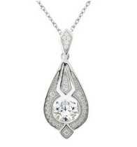 925 Dancing Swarovski Gem Necklaces - Elongated Tear Drop
