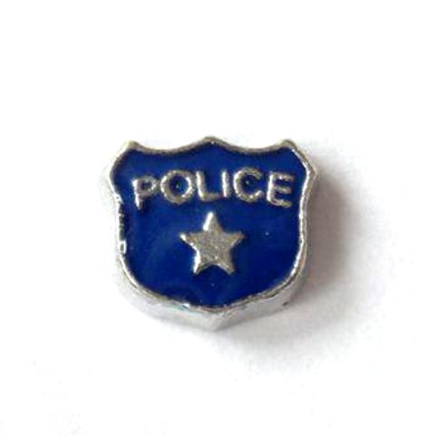 Memory Locket Charms Police Shield Blue Small