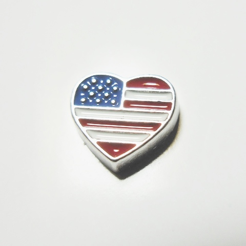 Memory Locket Charms Heart Flag Small