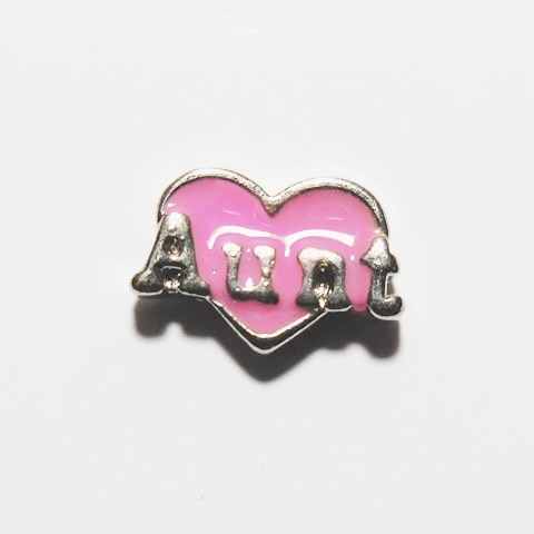 Memory Locket Charms Heart Aunt Pink