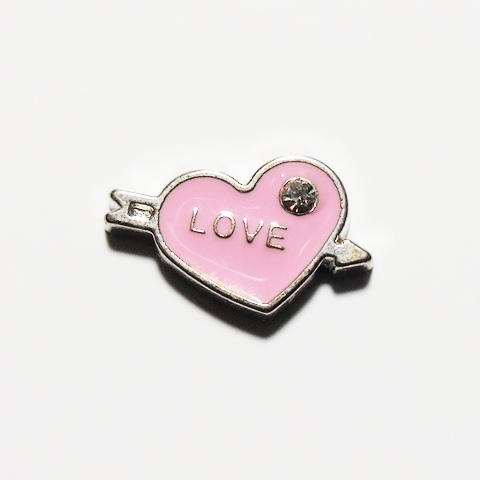 Memory Locket Charms Heart Love with Arrow Pink
