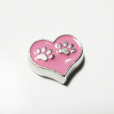 Memory Locket Charms Heart Dog Paws Pink