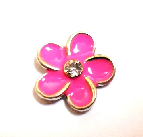 Memory Locket Charms Flower Pink with White Center