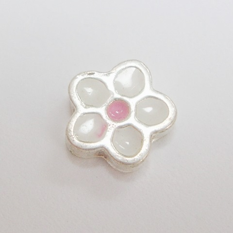 Memory Locket Charms Flower Small White with PinkCenter