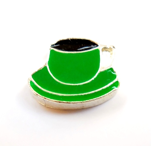 Memory Locket Charms Coffee Cup Green