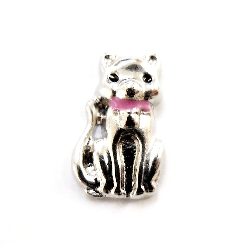 Memory Locket Charms Cat with Pink Bow