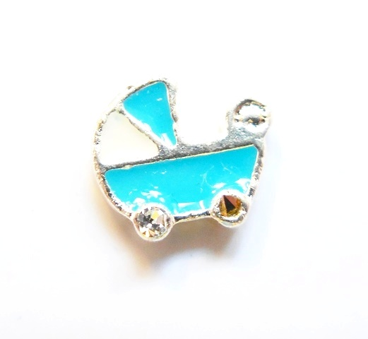 Memory Locket Charms Baby Buggy Blue