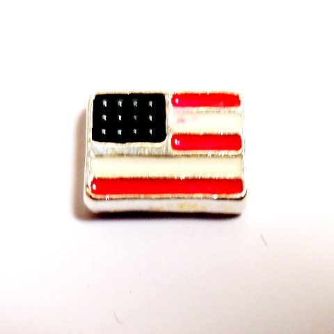 Memory Locket Charms Flag USA Square White, Red & Blue