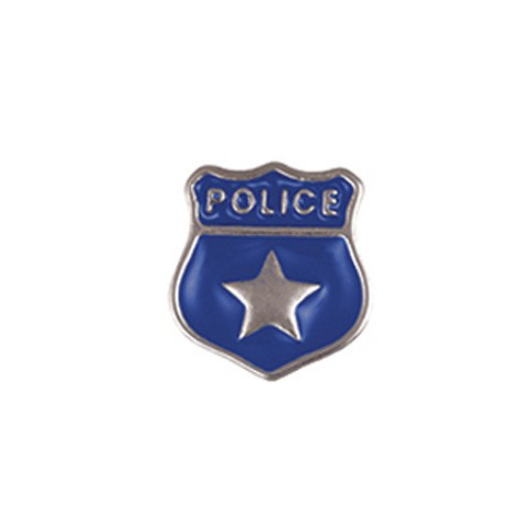 Memory Locket Charms Police Shield Blue