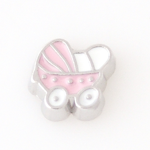 Memory Locket Charms Baby Buggy Pink