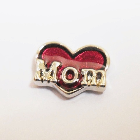Memory Locket Charms Heart Mom Red