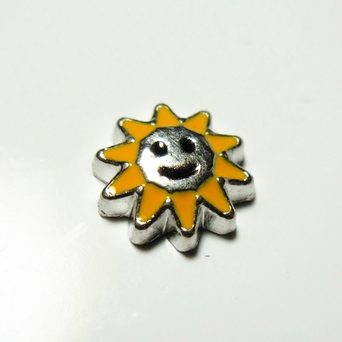 Memory Locket Charms Sun with Smile
