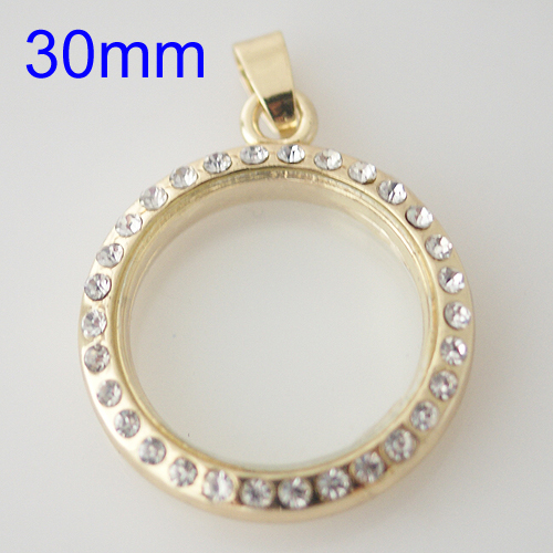 Large Fashion Locket - 30mm Rhinestone & Gold
