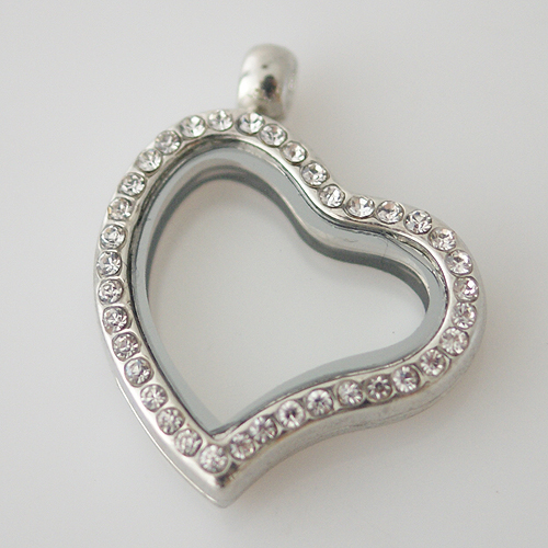 Large Fashion Locket Tilted Heart - 30mm Rhinestone & Silver