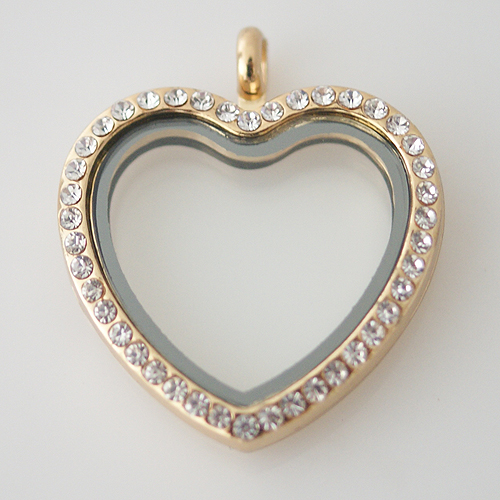 Large Fashion Locket Heart - 30mm Rhinestone & Gold