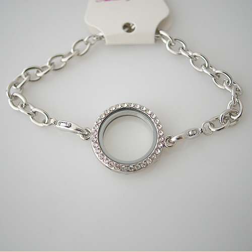 Bracelet Fashion Locket - 25MM Silver & CZ Accents Medium
