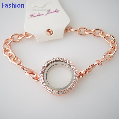 Bracelet Fashion Locket - 30MM Rose Gold & CZ Accents Large